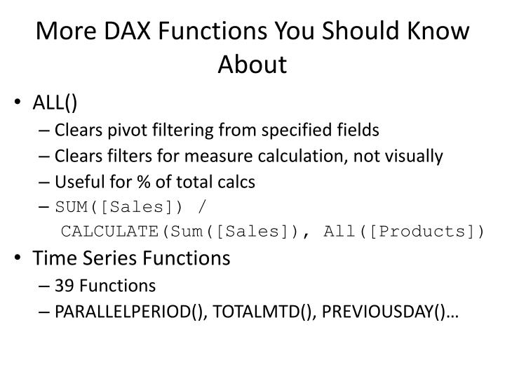 More DAX Functions You Should Know About