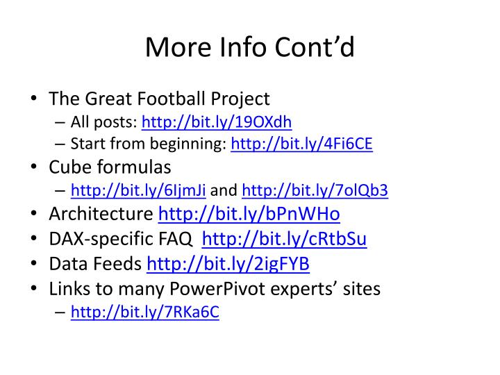 More Info Cont'd