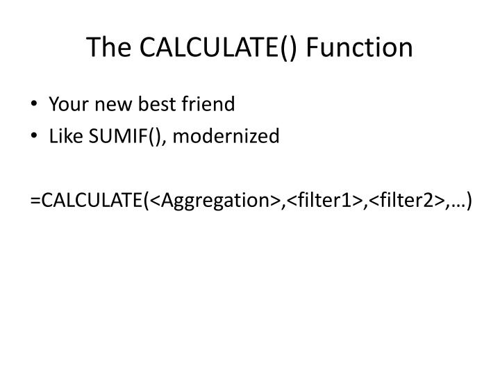 The CALCULATE()