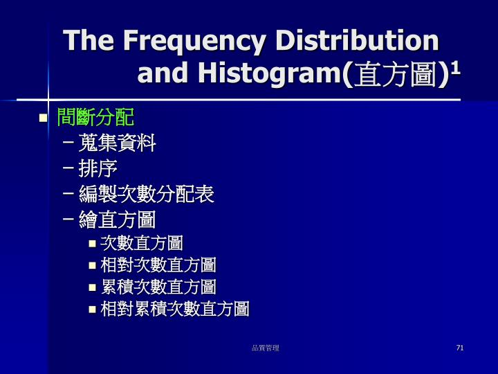 The Frequency Distribution