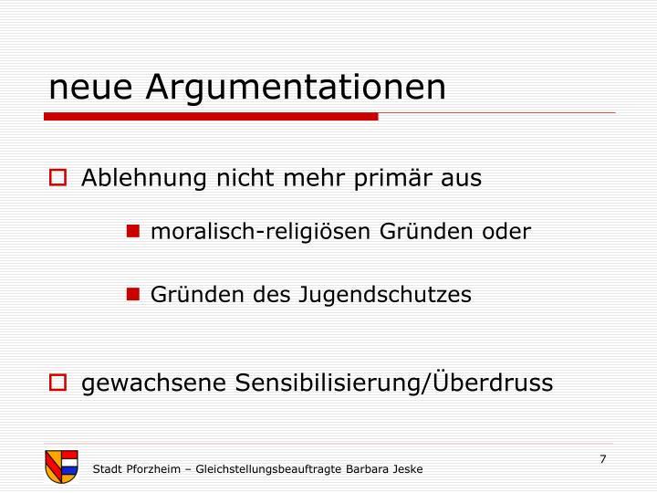 neue Argumentationen