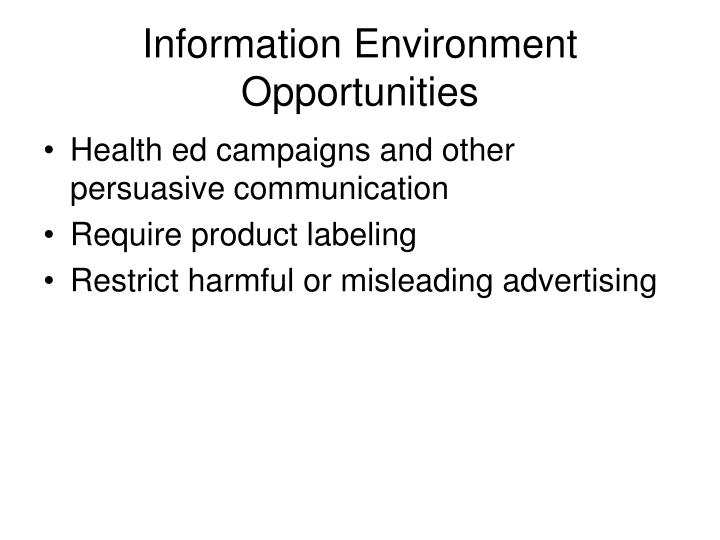 Information Environment Opportunities
