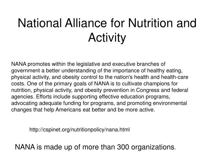 National Alliance for Nutrition and Activity