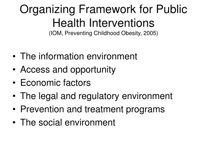 Organizing Framework for Public Health Interventions
