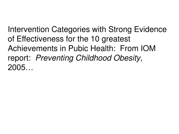 Intervention Categories with Strong Evidence of Effectiveness for the 10 greatest Achievements in Pubic Health:  From IOM report: