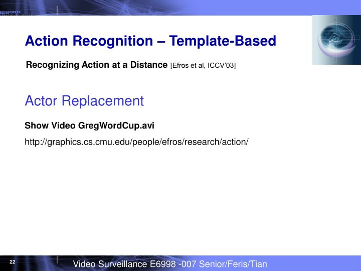 Action Recognition – Template-Based