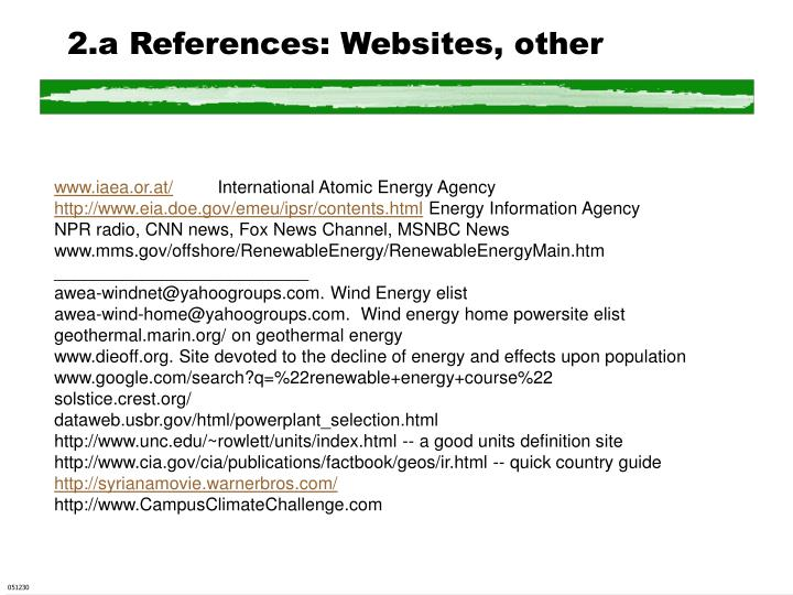 2.a References: Websites, other