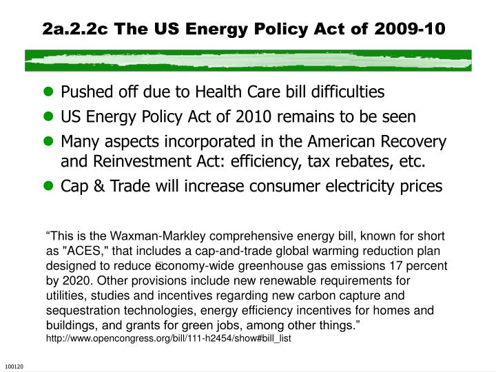 2a.2.2c The US Energy Policy Act of 2009-10