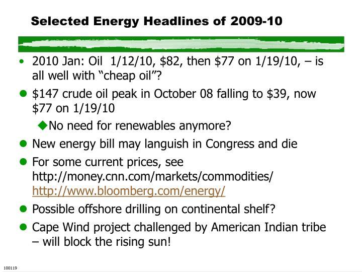 Selected Energy Headlines of 2009-10