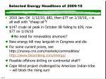 selected energy headlines of 2009 10