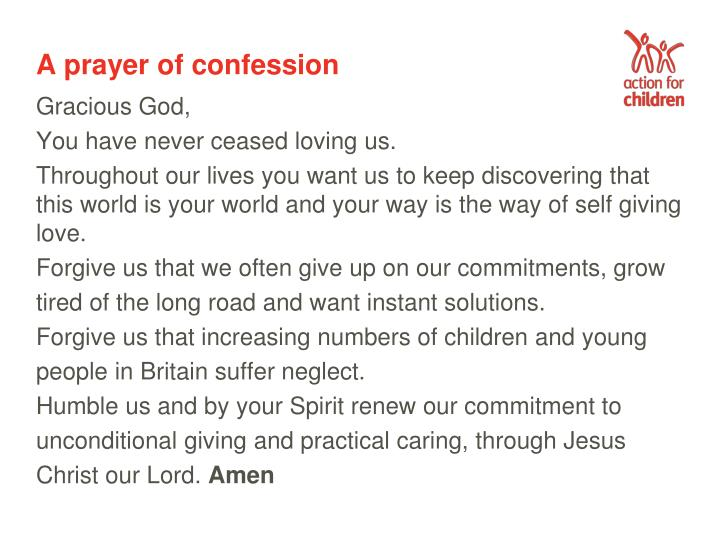A prayer of confession