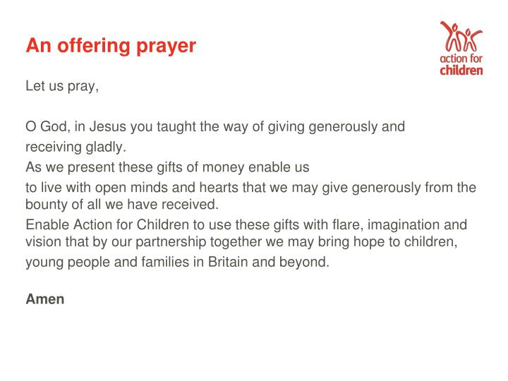 An offering prayer
