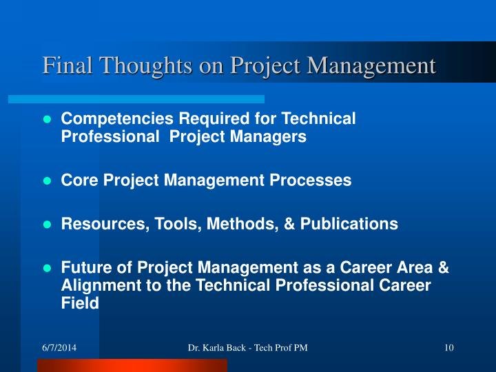 Final Thoughts on Project Management