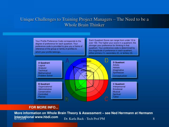 Unique Challenges to Training Project Managers – The Need to be a Whole Brain Thinker