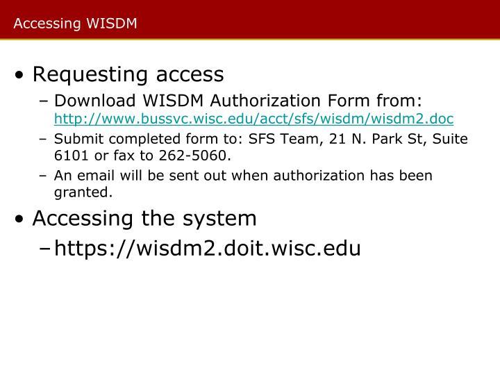 Accessing WISDM