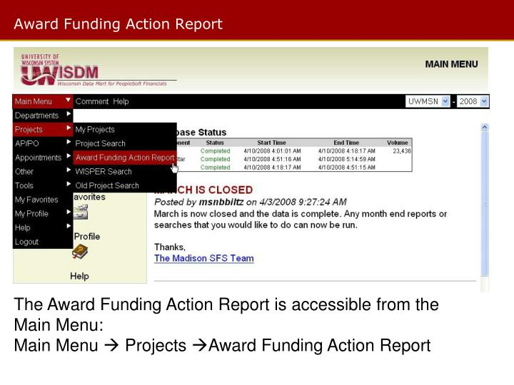 Award Funding Action Report