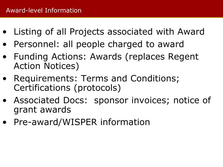 Listing of all Projects associated with Award