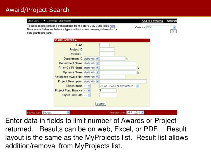 Award/Project Search