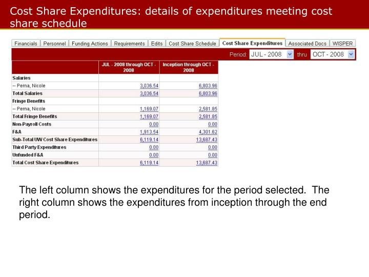 Cost Share Expenditures: details of expenditures meeting cost share schedule