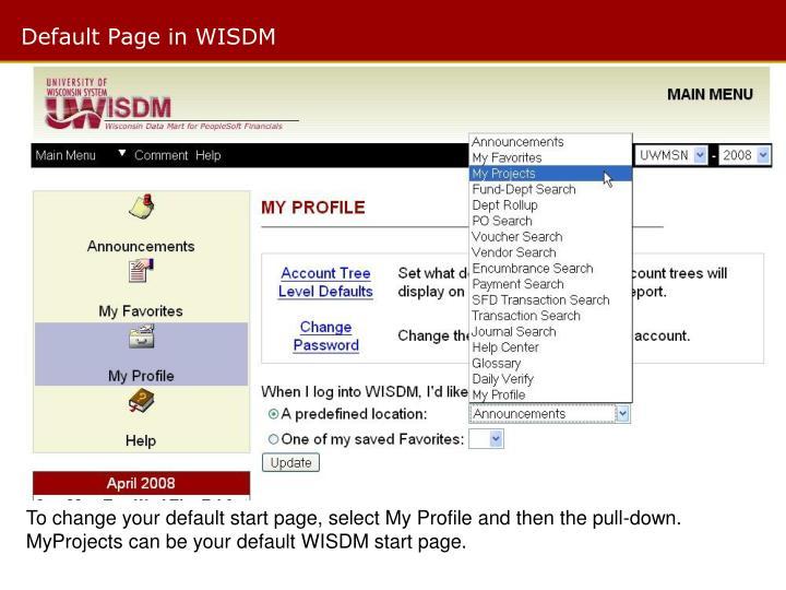 Default Page in WISDM