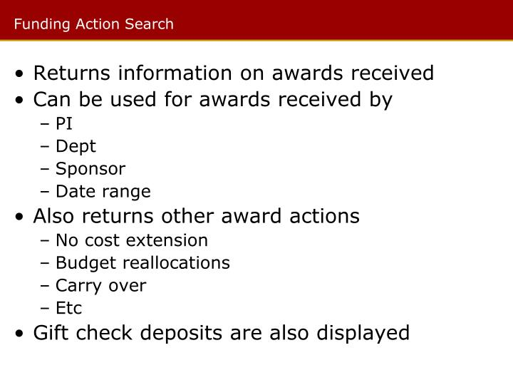 Funding Action Search