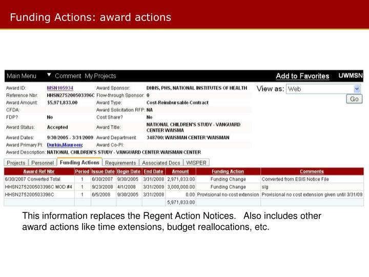 Funding Actions: award actions