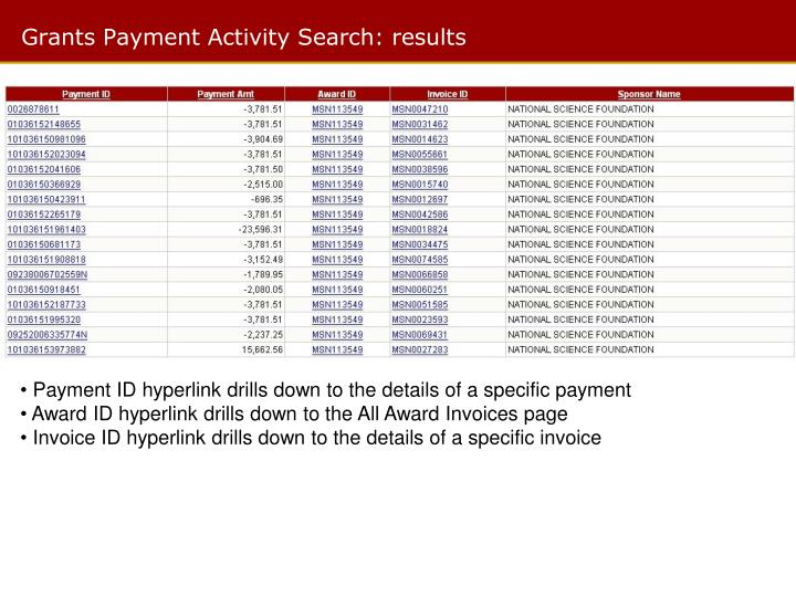 Grants Payment Activity Search: results