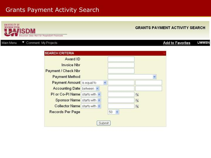 Grants Payment Activity Search