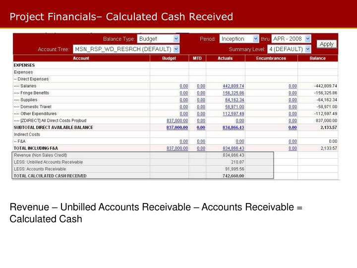 Project Financials– Calculated Cash Received