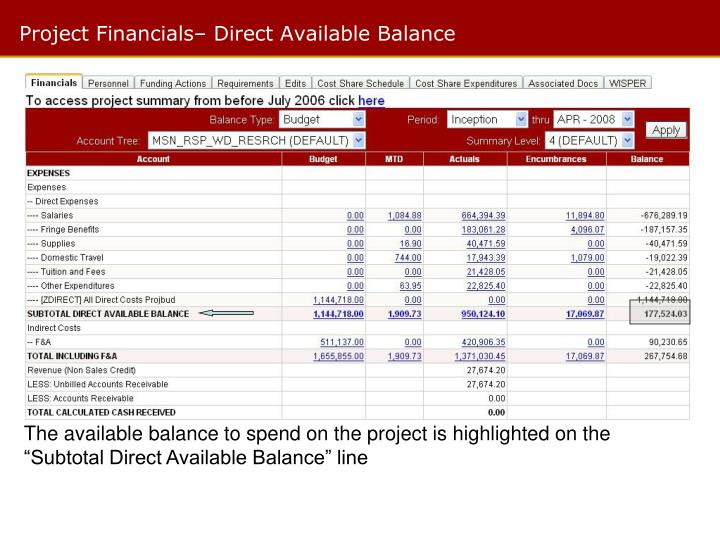 Project Financials– Direct Available Balance