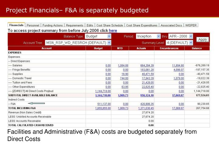 Project Financials– F&A is separately budgeted