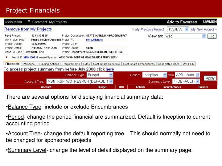 Project Financials