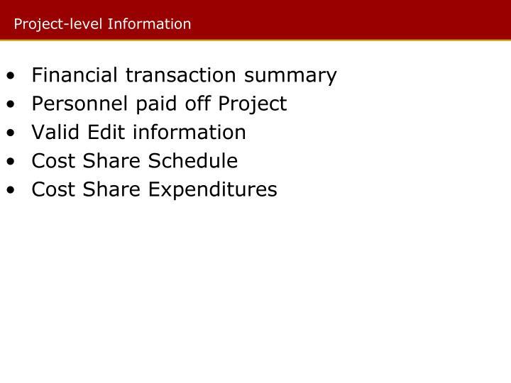 Financial transaction summary