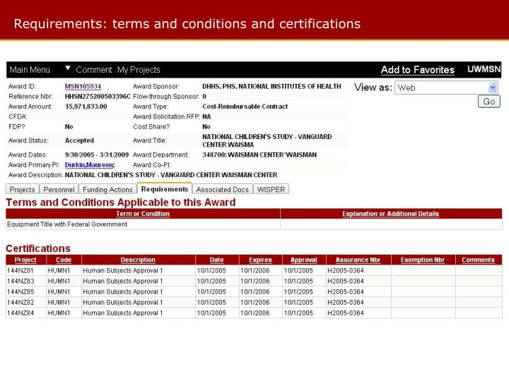 Requirements: terms and conditions and certifications