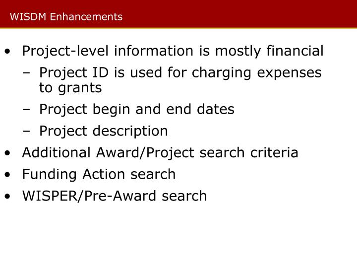 Project-level information is mostly financial