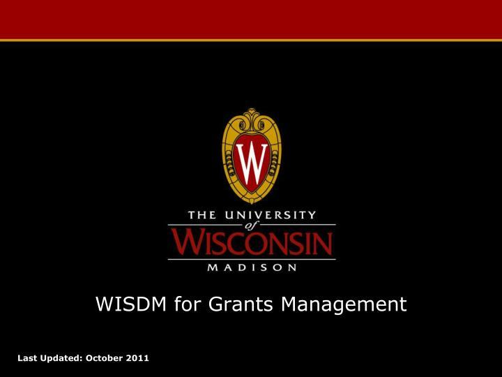 wisdm for grants management
