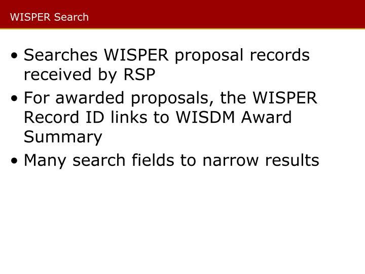 WISPER Search