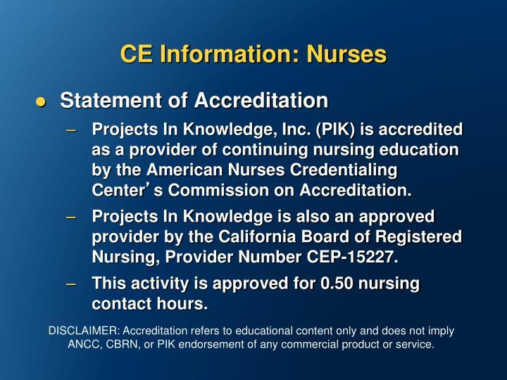 CE Information: Nurses