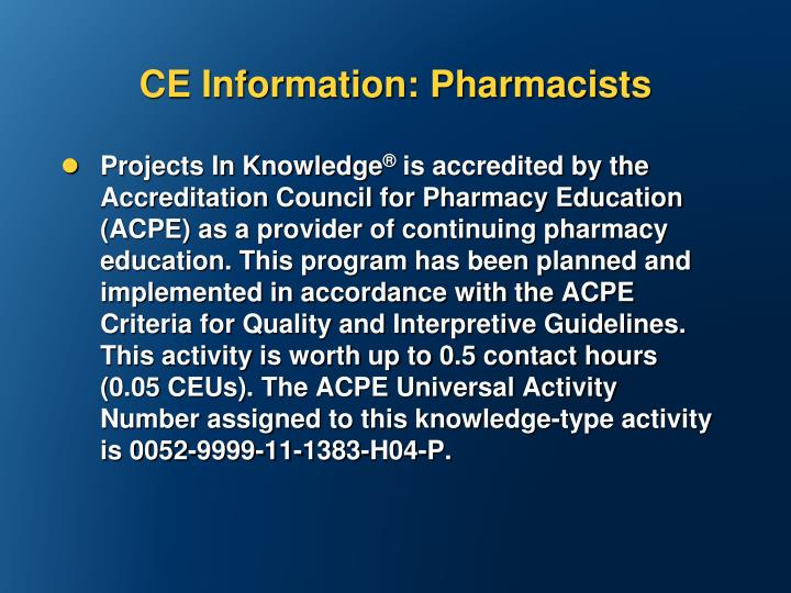 CE Information: Pharmacists