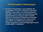 ce information pharmacists