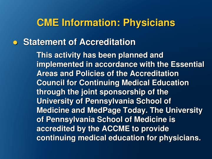 CME Information: Physicians