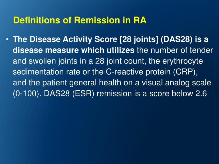 Definitions of Remission in RA