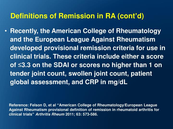 Definitions of Remission in RA (cont
