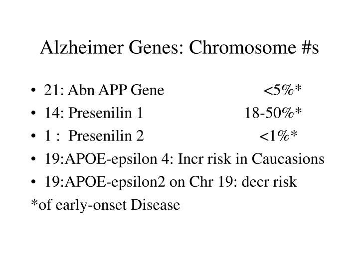 Alzheimer Genes: Chromosome #s