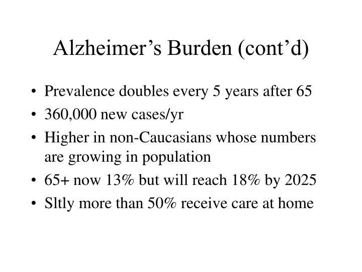 Alzheimer's Burden (cont'd)