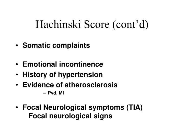 Hachinski Score (cont'd)