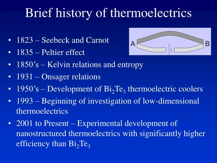Brief history of thermoelectrics