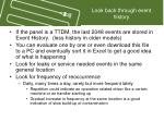 look back through event history