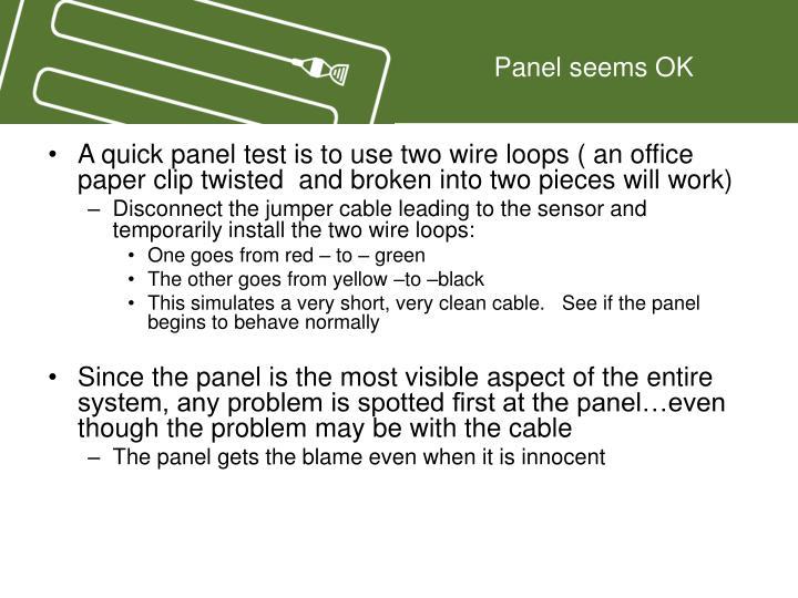 Panel seems OK