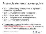assemble elements access points